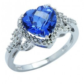 Created Sapphire Diamond Gemstone Ring in White 10K Gold