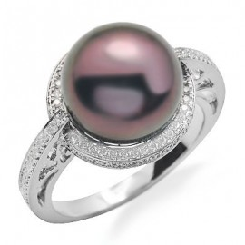 Brown Pearl and Diamond Gemstone Ring in White 14K Gold