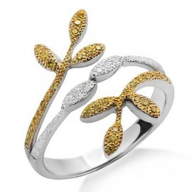 White and Yellow Diamond Fashion Ring in White 18K Gold