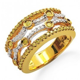 White and Yellow Fancy Colored Diamond Designer Ring in Yellow 14K Gold