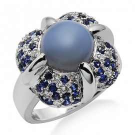 Chalcedony Sapphire Diamond Gemstone Ring in White 18K Gold