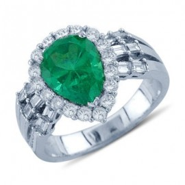 Pear Cut Emerald Round and Baguette Cut Diamond Gemstone Ring In 18K White Gold