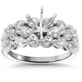 18K White Gold Diamond Engagement Ring Setting 1.72 Ctw