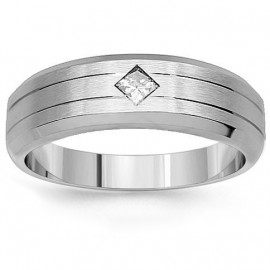 14K White Gold Mens Diamond Solitaire Wedding Band 0.20 Ctw
