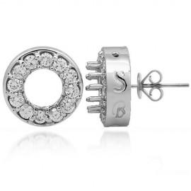 14K White Gold Womens Semi Mount Diamond Stud Earrings 1.55 Ctw