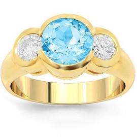 18K Yellow Gold Three Stone Diamond Aquamarine Engagement Ring 3.35 Ctw