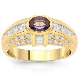 14K Yellow Gold Womens Diamond Sapphire Ring 1.50 Ctw