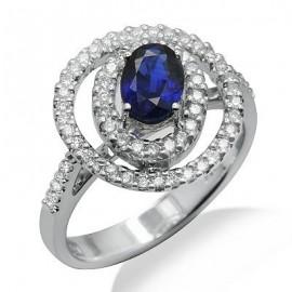 Sapphire Diamond Gemstone Ring in White Gold