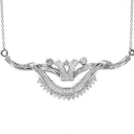 14 K fehérarany női gyémánt nyaklánc 1.17 Ctw