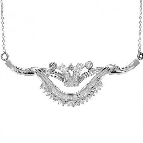 14K White Gold Womens Diamond Necklace 1.17 Ctw