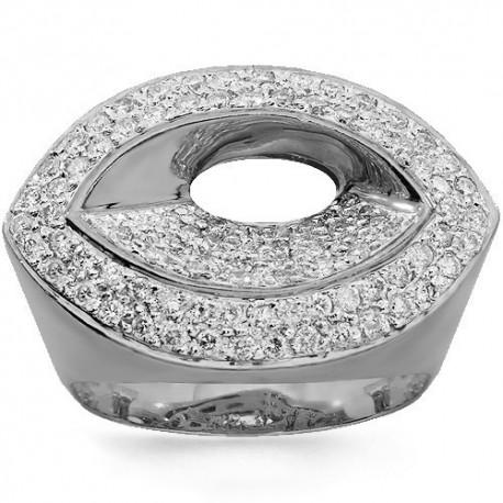 14K White Gold Womens Diamond Cocktail Ring 1.01 Ctw