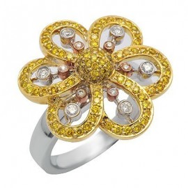 White & Yellow Diamond Right Hand Flower Ring in White Gold