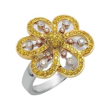 White & Yellow Diamond Right Hand Flower Ring in White Gold