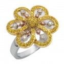 Fehér & sárga gyémánt jobb oldali virág gyűrű fehér arany