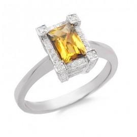 Whiskey Quartz and Diamond Gemstone Ring in White Gold