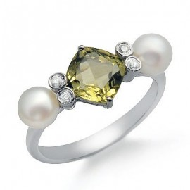 Green Lemon Quartz Pearl and Diamond Gemstone Ring in White 14K Gold