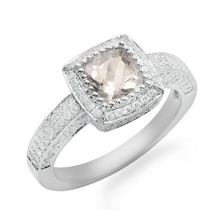 Solitaire Cushion Cut Pink Amethyst and Diamond Gemstone Ring in White Gold