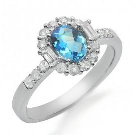 Blue Topaz and Diamond Gemstone Ring in White 18K Gold