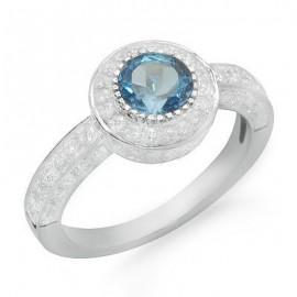 Pasziánsz kerek vágott kék topáz és drágakövek-gyémánt gyűrű 18 K fehér arany