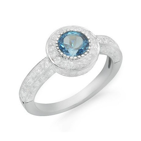 Solitaire Round Cut Blue Topaz and Diamond Gemstone Ring in White 18K Gold