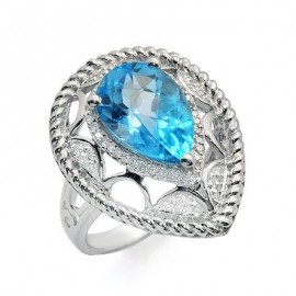 Solitaire Pear Cut Blue Topaz and Diamond Large Gemstone Ring in White 14K Gold