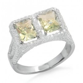 Green Amethyst and Diamond Unique Gemstone Ring in White 14K Gold