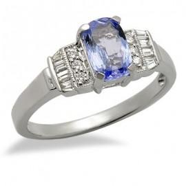 Tanzanite drágakövek-gyémánt gyűrű 18 K fehér arany