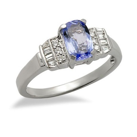Tanzanite Diamond Gemstone Ring in White 18K Gold