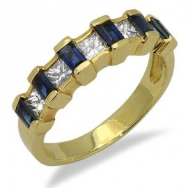 Sapphire Diamond Unique Gemstone Ring in Yellow 14K Gold