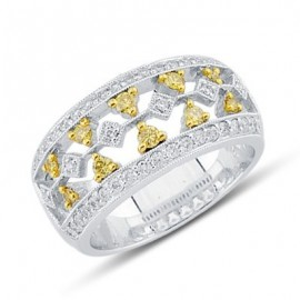 Modern White and Yellow Diamond Pattern Ring in White 14K Gold