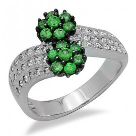 Green Garnet Diamond Cluster Gemstone Flower Ring in White 14K Gold