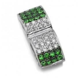 Green Garnet Diamond Gemstone Pendant in White 14K Gold
