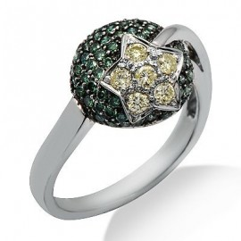 Green Fancy Colored Pave Diamond Star Ring in 14K White Gold