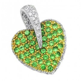 Green Garnet Diamond Gemstone Pendant in White 18K Gold