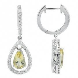 Green Quartz Diamond Drop Gemstone Earrings in White 14K Gold