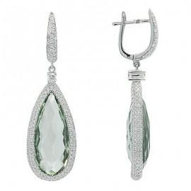 Green Amethyst Diamond Designer Gemstone Earrings in White 14K Gold