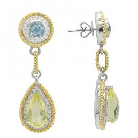 Green Quartz Diamond Drop Gemstone Earrings in Two Tone 18K Gold