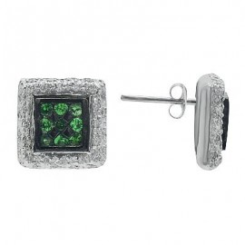 Green Garnet Diamond Gemstone Earrings in White 14K Gold