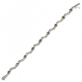 Sapphire Diamond Gemstone Bracelet in Two Tone 14K Gold
