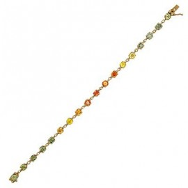 Sapphire Diamond Gemstone Bracelet in Yellow 14K Gold