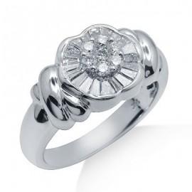 Gyémánt fürt gyűrű 18 K fehér arany