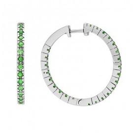 Green Garnet Gemstone Huggie Gemstone Earrings in White 14K Gold