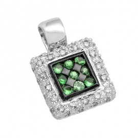 Green Garnet Square Gemstone Pendant in White 14K Gold