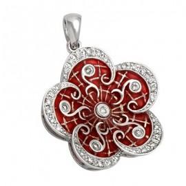 Enamel Flower Diamond Gemstone Pendant in White 14K Gold