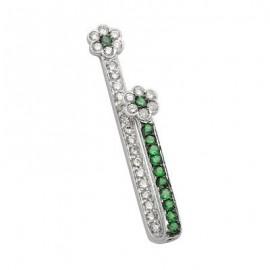 Green Garnet Flower Gemstone Pendant in White 14K Gold