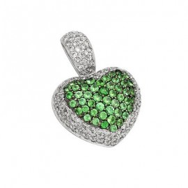 Green Garnet Heart Gemstone Pendant in White 14K Gold