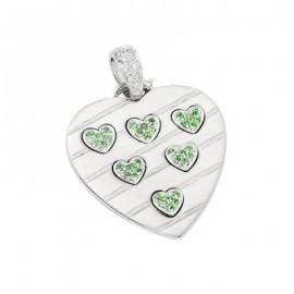 Green Sapphire Diamond Gemstone Pendant in White 14K Gold