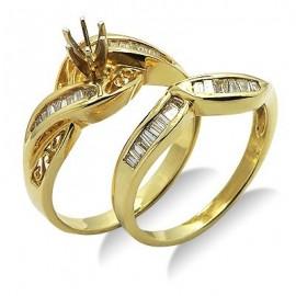 Diamond félig Mount görbe esküvői gyűrű sárga 14 K arany