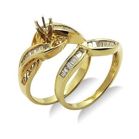 Diamond Semi Mount Curve Bridal Ring Set In Yellow 14K Gold