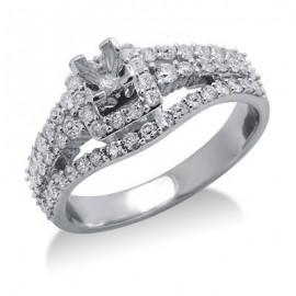 Félig Mount Ring elintézés-ban 14 K fehér arany gyémánt